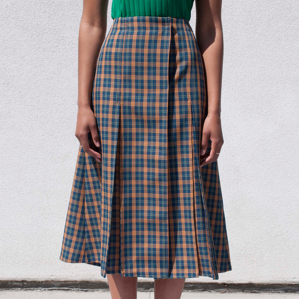 Wales Bonner - Hanover Boxpleat Skirt, available at LCD.