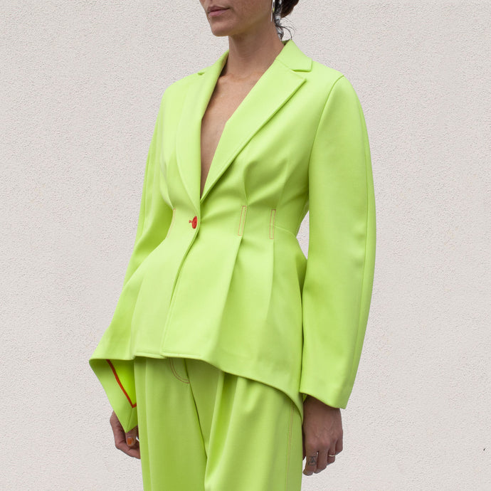 Sies Marjan - Haru Jacket - Fluo Yellow, angled view, available at LCD.