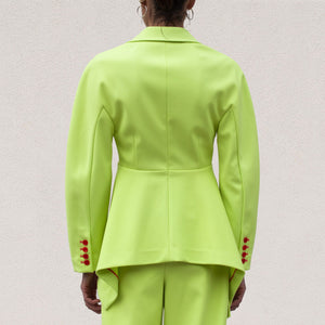 Sies Marjan - Haru Jacket - Fluo Yellow, back view, available at LCD.