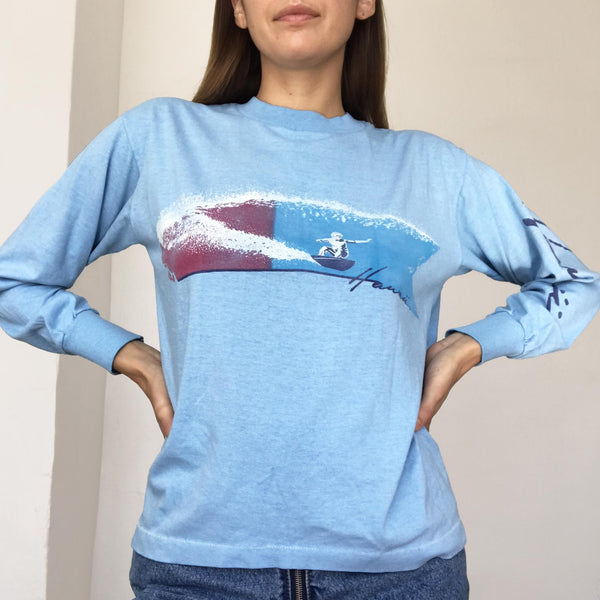 Rxmance Vintage - Vintage Light Blue Hawaii LS Tee, available at LCD.
