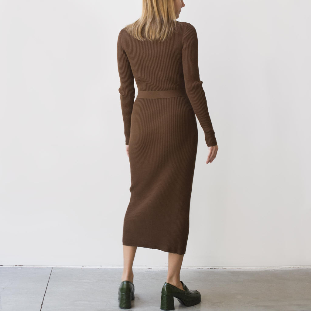 Maryam Nassir Zadeh - Hayett Cardigan Dress - Cocoa, back view, available at LCD.