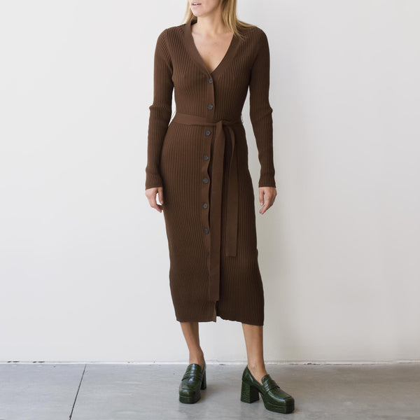 Maryam Nassir Zadeh - Hayett Cardigan Dress - Cocoa, front view, available at LCD.