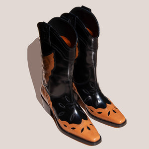Ganni - High Texas Boot, angled view, available at LCD.