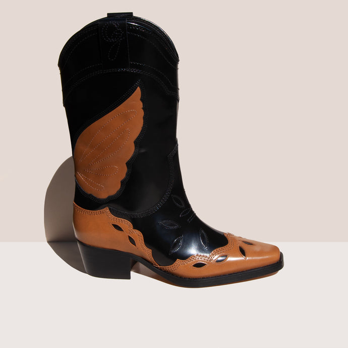 Ganni - High Texas Boot, side view, available at LCD.