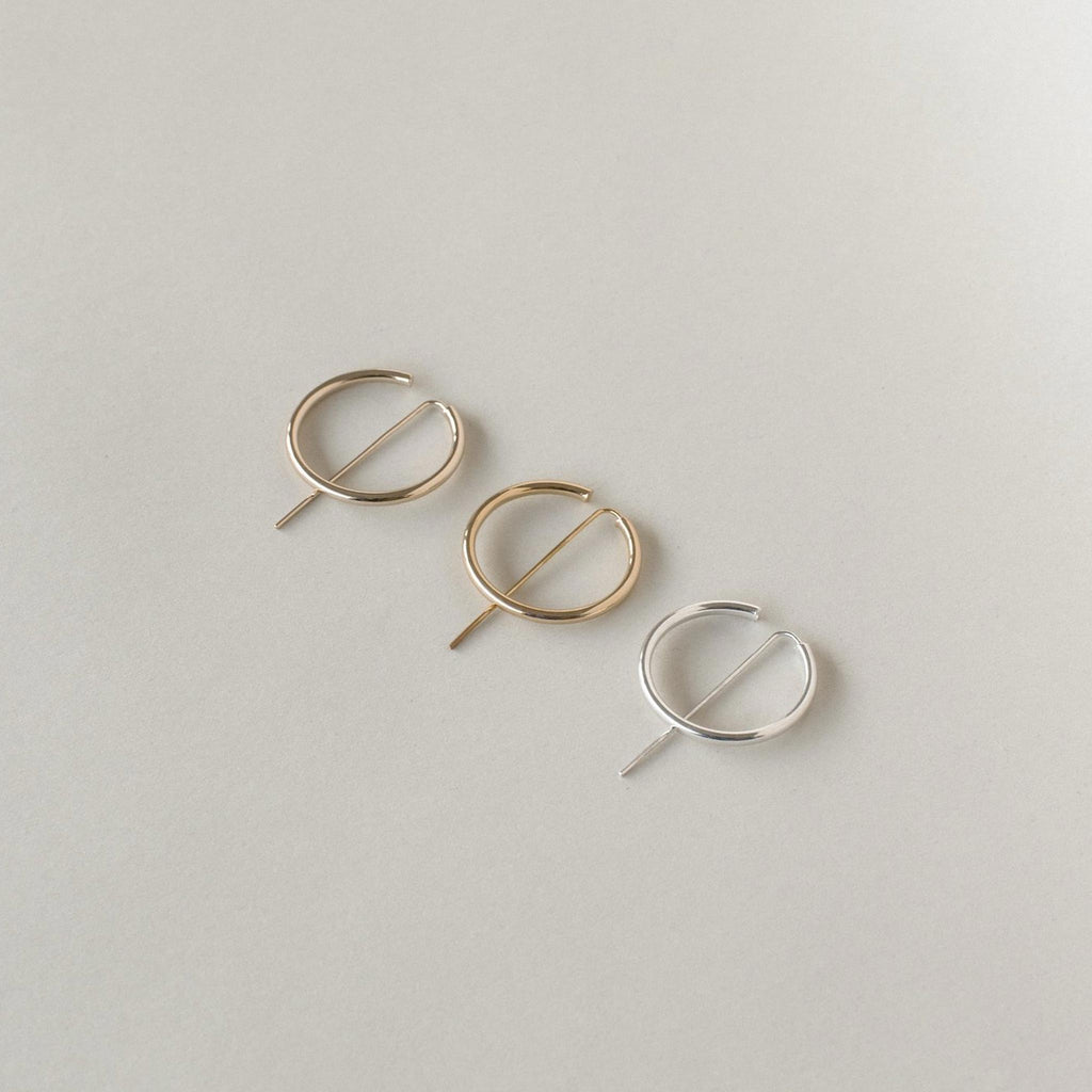 Jaclyn Moran Jewelry - Hoop & Post Earrings in Rose Gold, Yellow Gold and Sterling Silver.
