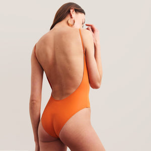 Bower Swimwear - Hutton One Piece Swimsuit - Burnt Orange, back view, available at LCD.