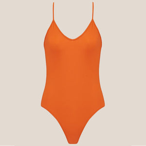 Bower Swimwear - Hutton One Piece Swimsuit - Burnt Orange, front view, available at LCD.