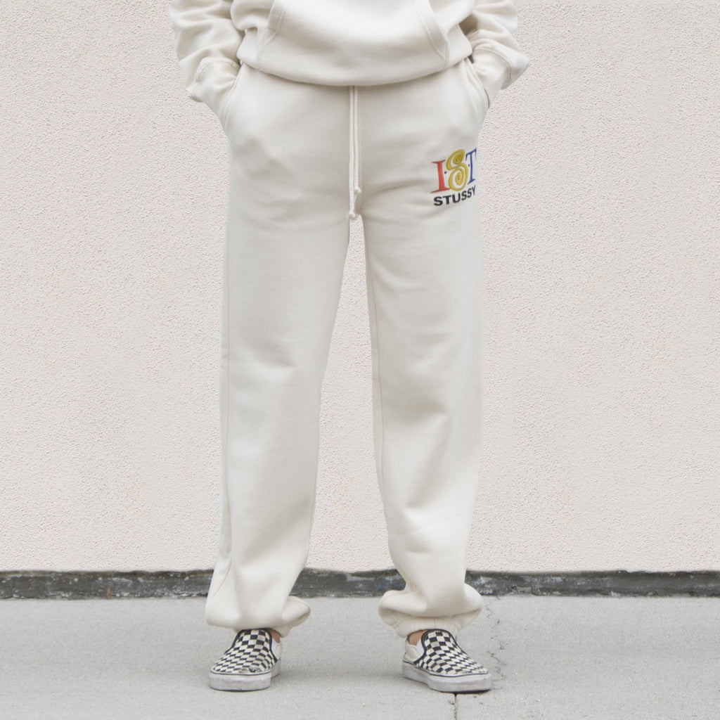Stussy - IST Sweatpant - Cement, front view, available at LCD.