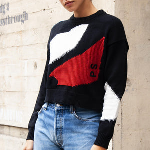 Proenza Schouler White Label - Intarsia Crop Knit, angled view, available at LCD.