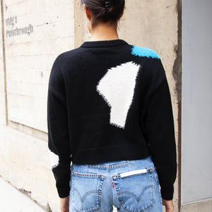 Proenza Schouler White Label - Intarsia Crop Knit, rear view, available at LCD.