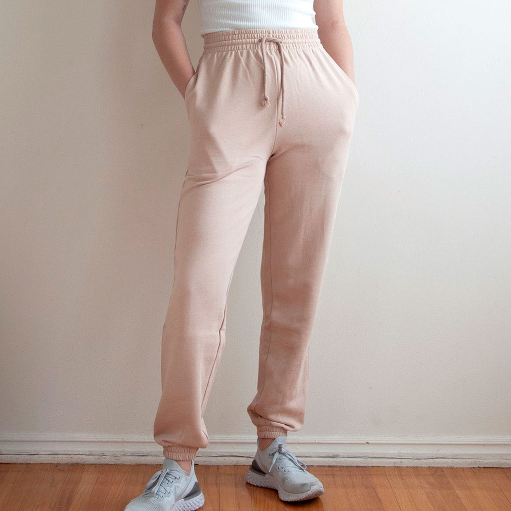 Baserange - Italian Fleece Sweatpants - Nude, front detail, available at LCD.