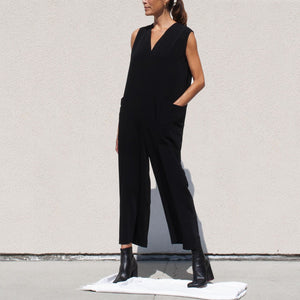 Roucha - Japa Jumpsuit - Black, angled view, available at LCD.