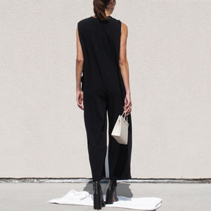 Roucha - Japa Jumpsuit - Black, back view, available at LCD.