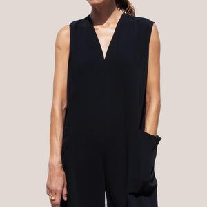 Roucha - Japa Jumpsuit - Black, front detail view, available at LCD.
