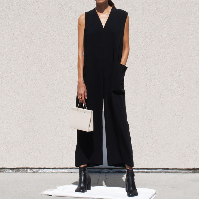 Roucha - Japa Jumpsuit - Black, front view, available at LCD.