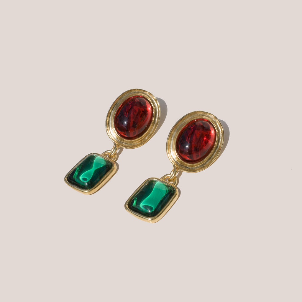 Mondo Mondo - Jelly Earrings - Ruby/Emerald, angled view, available at LCD.