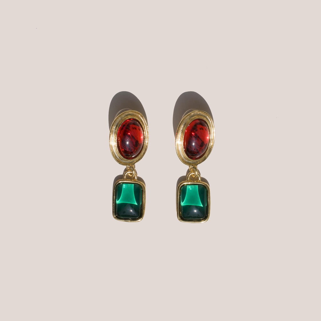 Mondo Mondo - Jelly Earrings - Ruby/Emerald, available at LCD.