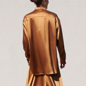 Sies Marjan - Kiki Crinkled Satin Oversized Shirt, back view, available at LCD.