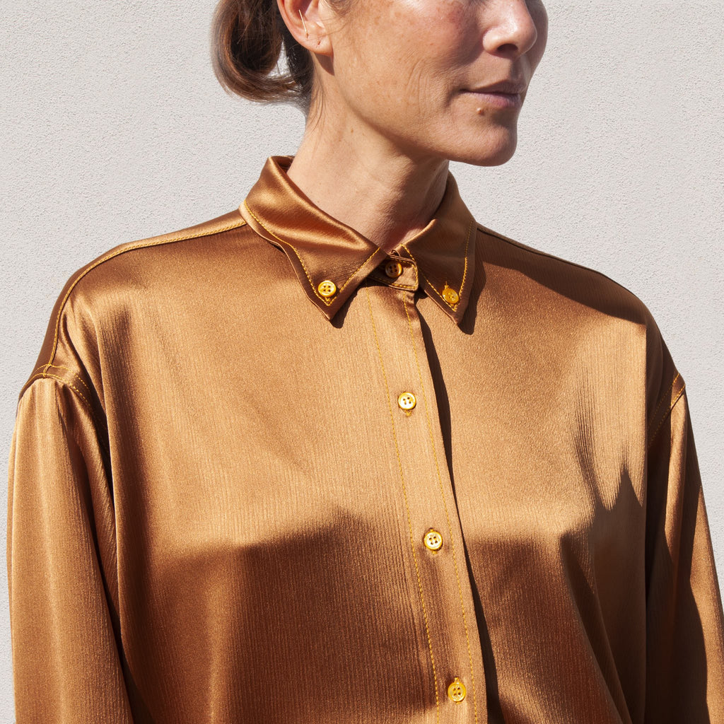 Sies Marjan - Kiki Crinkled Satin Oversized Shirt, detail view, available at LCD.