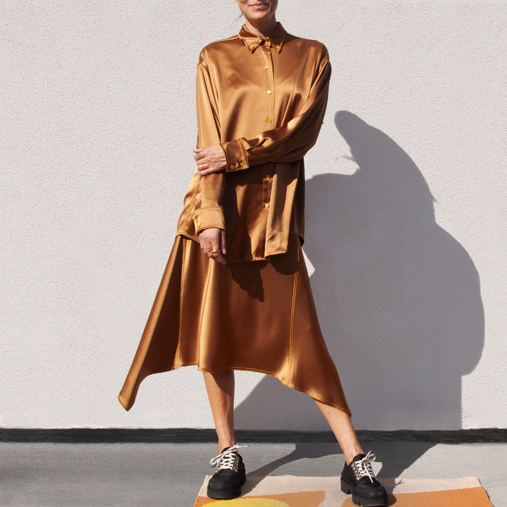 Sies Marjan - Kiki Crinkled Satin Oversized Shirt, front view, available at LCD.