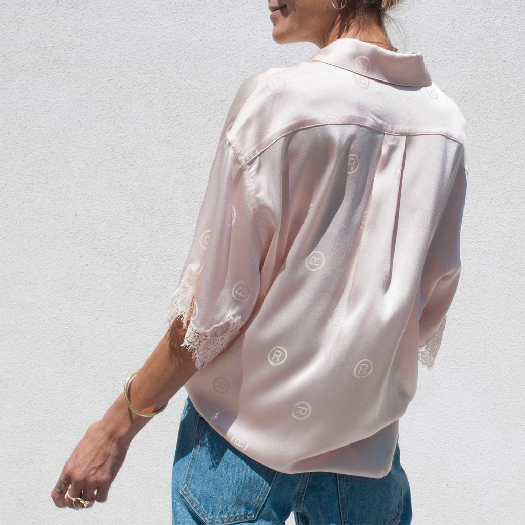 Martine Rose - Klene Shirt - Light Pink, back view.