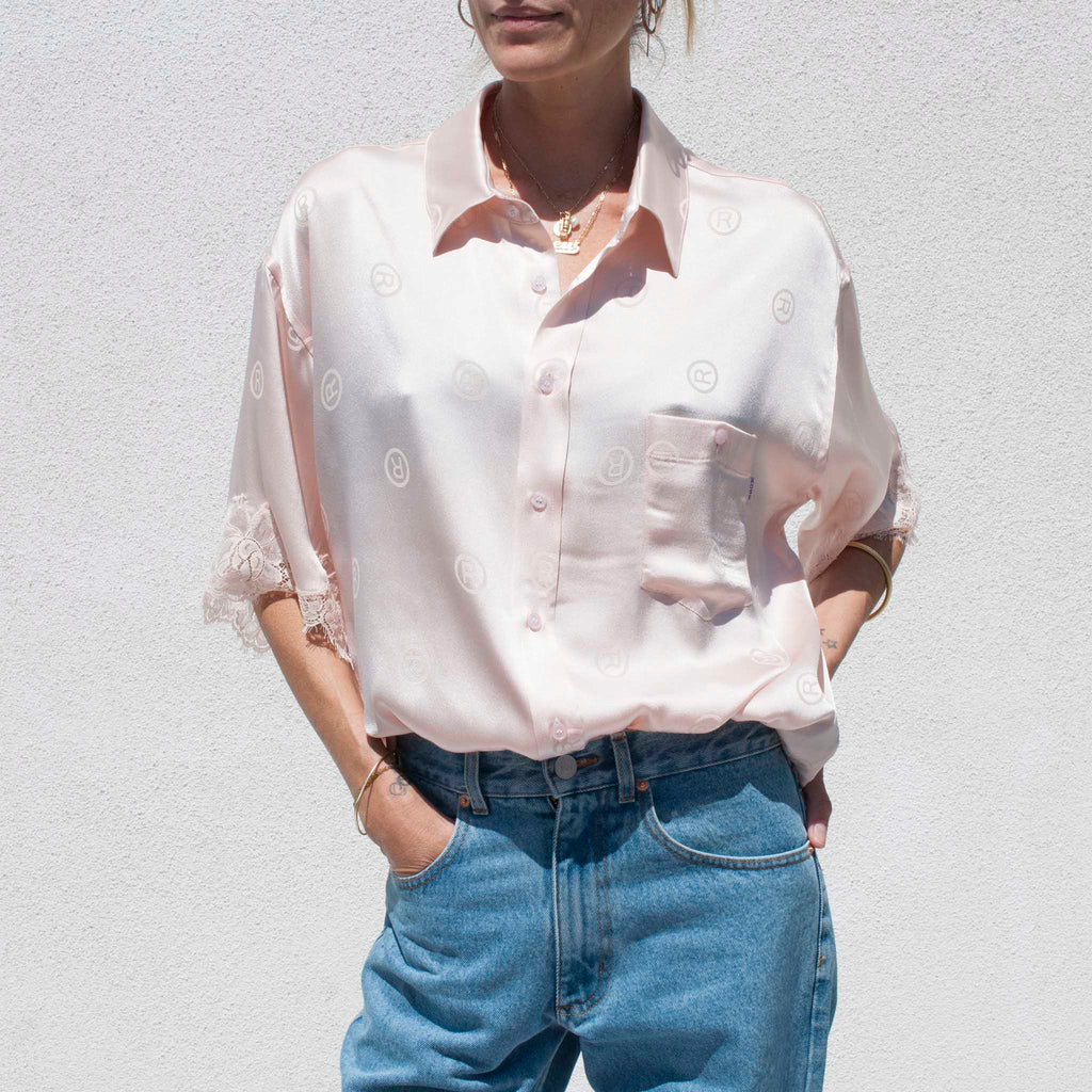 Martine Rose - Klene Shirt - Light Pink, front view.