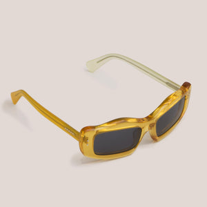 Braindead - Kurata Sunglasses - Multi Amber, angled view, available at LCD.