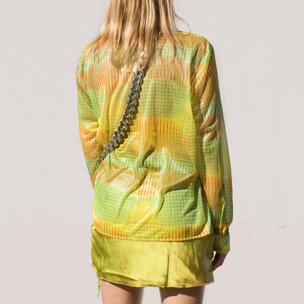 Strada - Mariposa Button Up - Lime Mesh, back view.