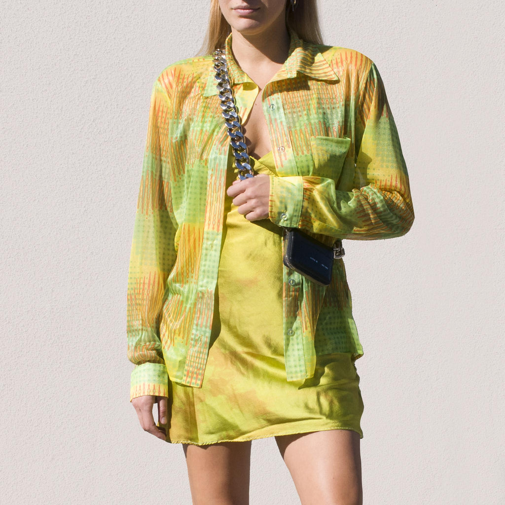 Collina Strada - Mariposa Button Up - Lime Mesh, front view.