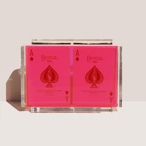 Luxe Dominoes - La Pinta Card Set, Neon Pink, available at LCD.