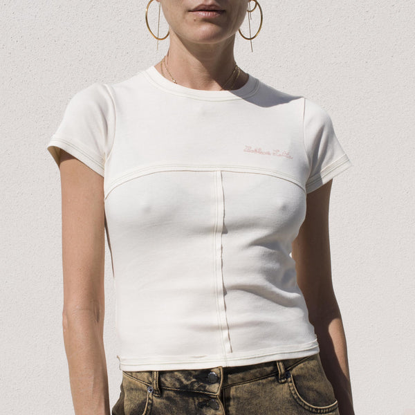 Eckhaus Latta - Lapped Baby Tee in Cream, front view.