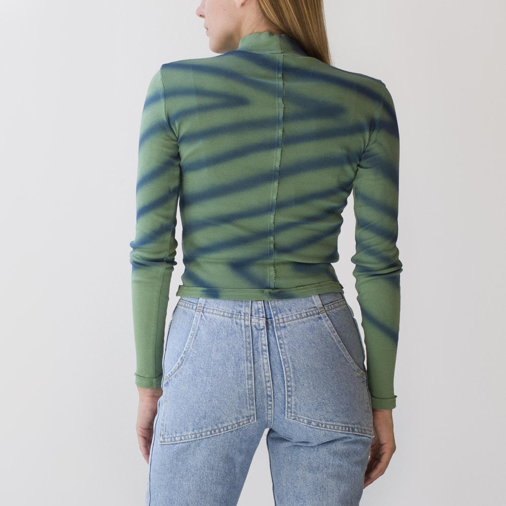 Eckhaus Latta - Lapped Baby Turtleneck - Directional Spray, back view, available at LCD.