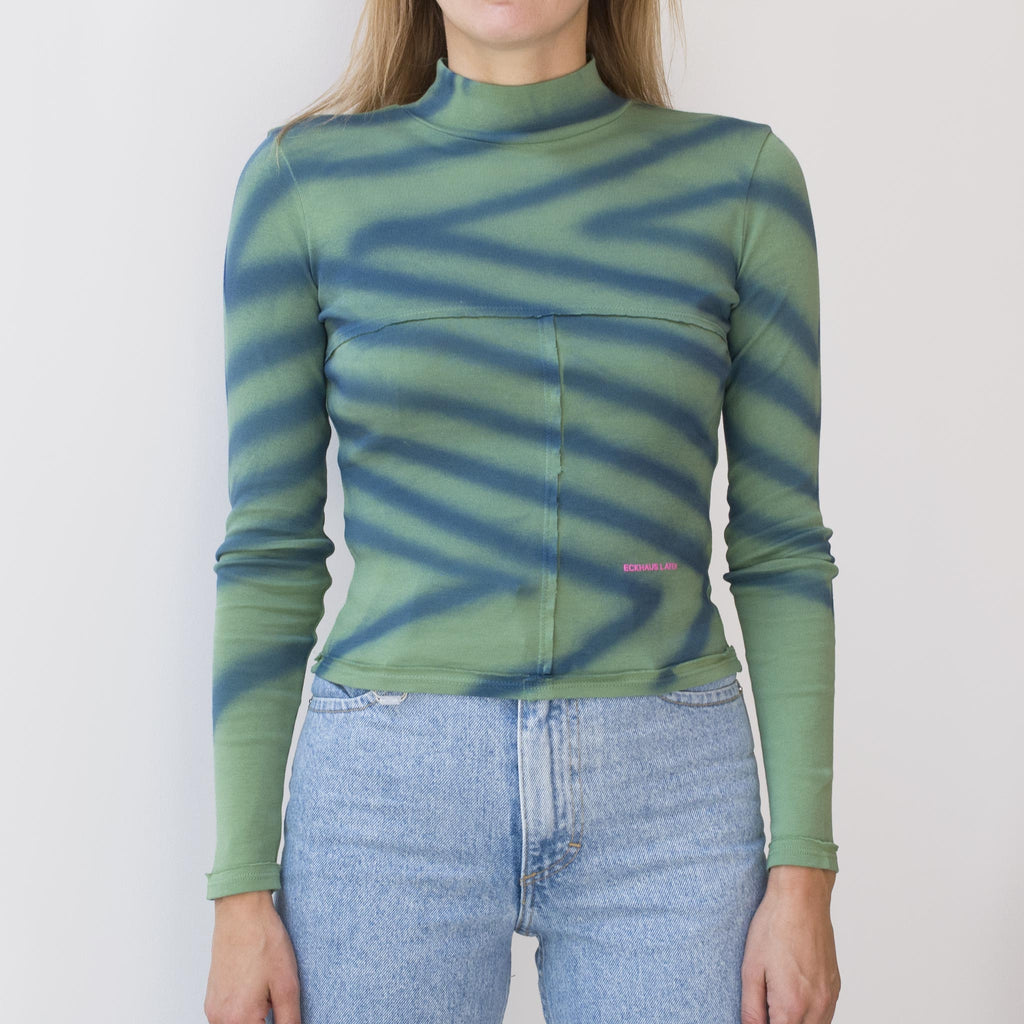 Eckhaus Latta - Lapped Baby Turtleneck - Directional Spray, front view, available at LCD.