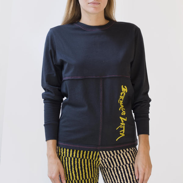Eckhaus Latta - Lapped Long Sleeve - Novel Limo, front view, available at LCD.