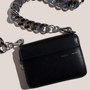 Kara - Bike Wallet in Black with chain, aerial view, available at LCD.