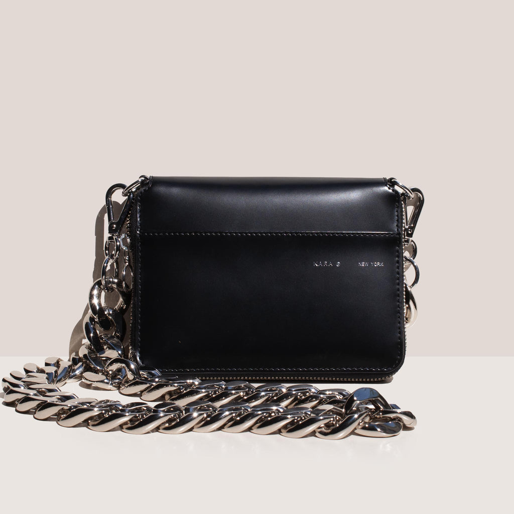Kara - Bike Wallet in Black with chain, front view, available at LCD.