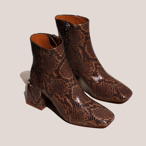 LoQ - Lazaro Boot - Castaña Python, angled view, available at LCD.