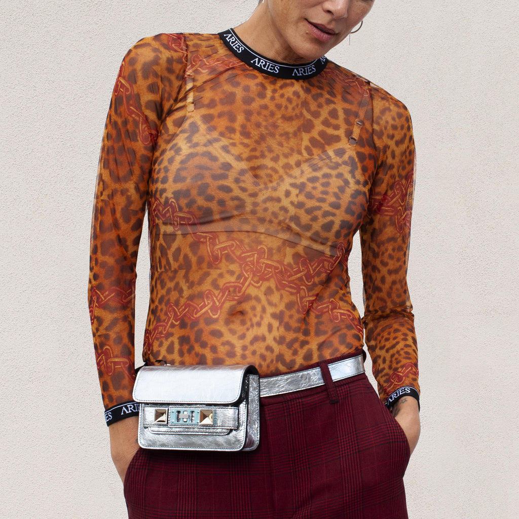 Aries - Leopard Mesh Top, front view, available at LCD.