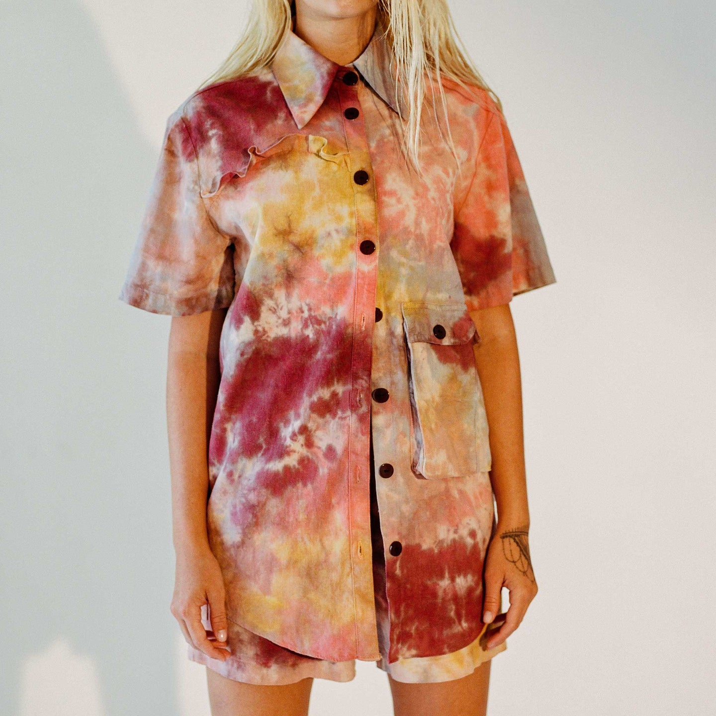 Kkco for LCD - Limestone Shirt in Reef Tie Dye, front view, available at LCD.