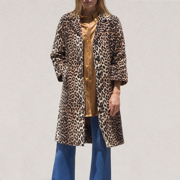Ganni - Linen Canvas Coat - Leopard, front view, available at LCD.