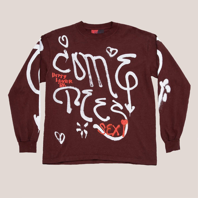 Come Tees - Long Sleeve Logo Shirt - Maroon, front view, available at LCD.