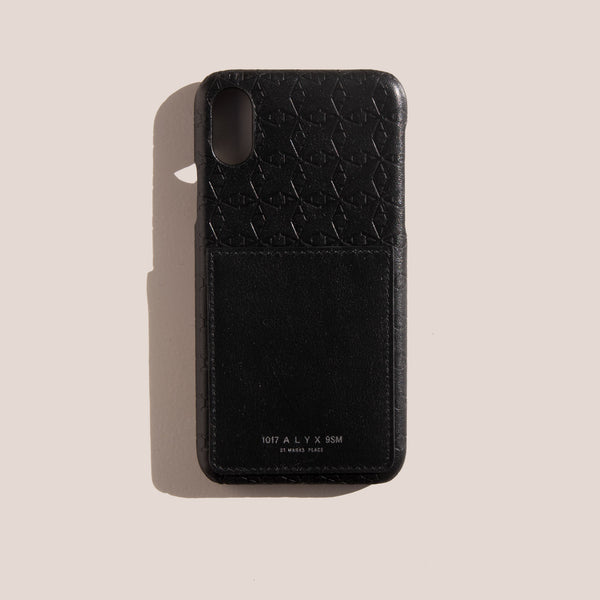"1017 Alyx 9SM - Leather ""A"" Logo iPhone Case with Card Holder, available at LCD."