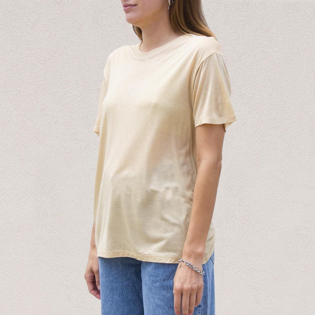 Baserange - Loose Tee - Tea, angled view, available at LCD.