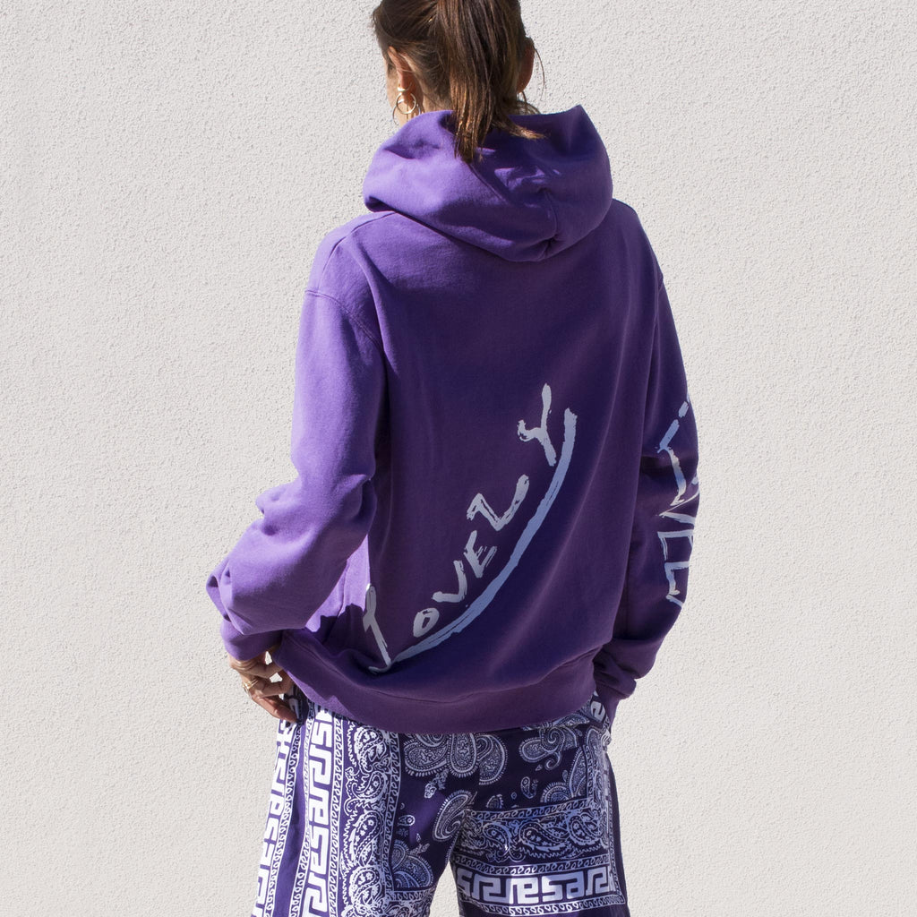 Perks & Mini - Lovely Hooded Sweatshirt in Grape, back view.