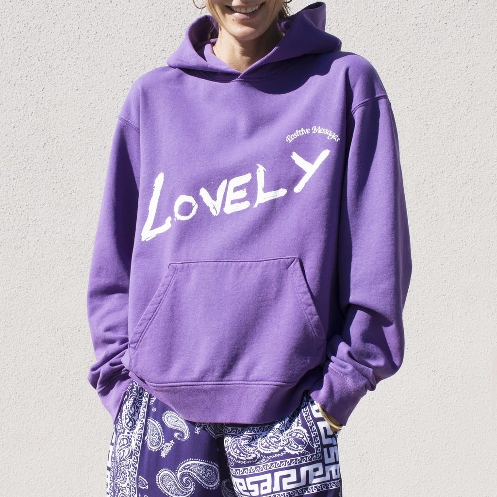Perks & Mini - Lovely Hooded Sweatshirt in Grape, front view.