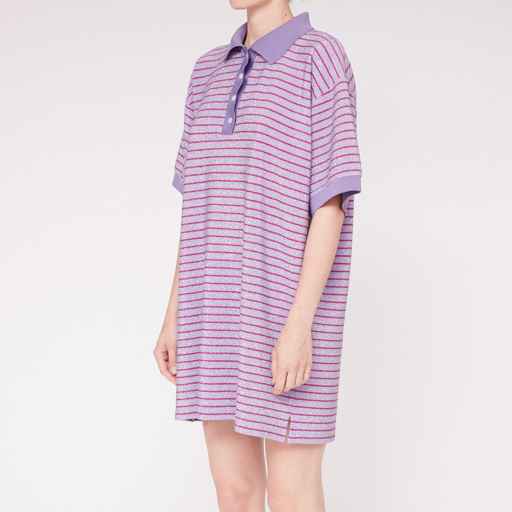 MM6 - Striped Lurex Polo Dress, angled view, available at LCD.