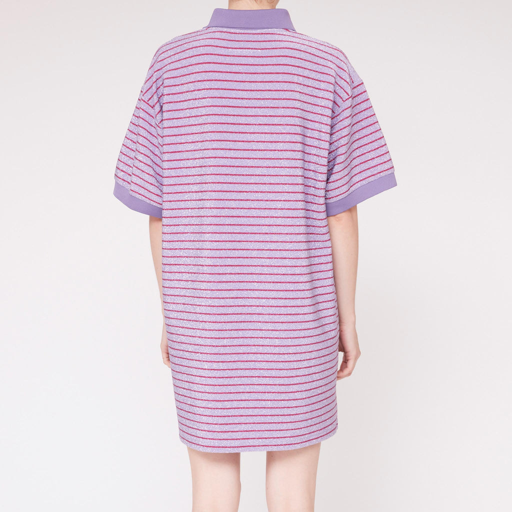 MM6 - Striped Lurex Polo Dress, back view, available at LCD.