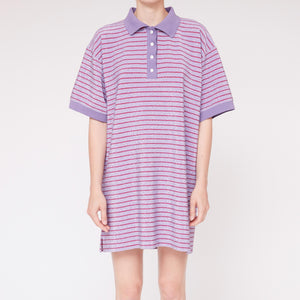 MM6 - Striped Lurex Polo Dress, front view, available at LCD.