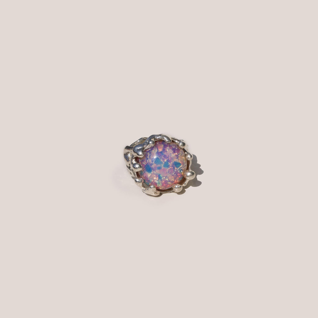 Mondo Mondo - Magician Ring - Pink Opal, front view, available at LCD.