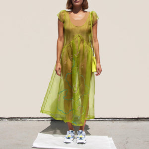 Collina Strada - Sequin Mariposa Dress - Green Organza, front view, available at LCD.
